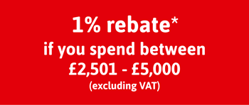 Spend Between 2,501 - £5,000 to get a 1% Rebate