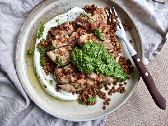 Grilled Chicken Thigh with Lentils, Yoghurt and Green Sauce