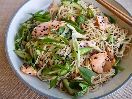 Salmon and Cucumber Rice Noodles with a Citrus-Miso Dressing