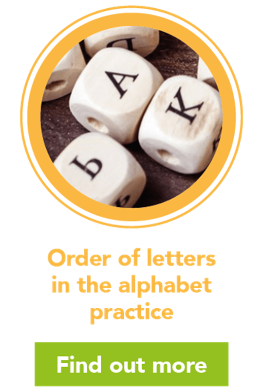 Order of the letters in the alphabet practice